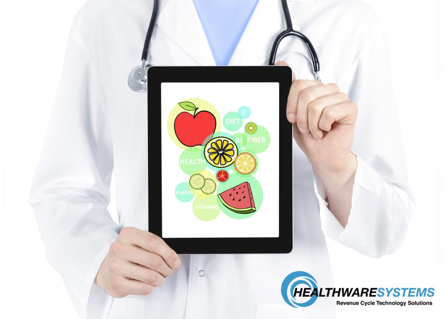 A doctor holds a tablet showing healthy food images representing the blog topic – reduce patient malnutrition.
