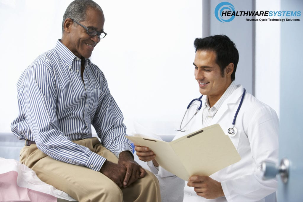 This doctor talking to his patient is taking proactive steps toward increasing preventive screenings for men!