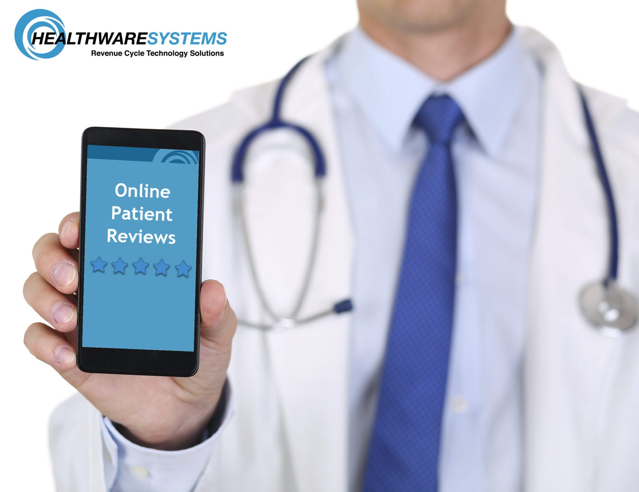 A doctor holds a smartphone showing online patient reviews.