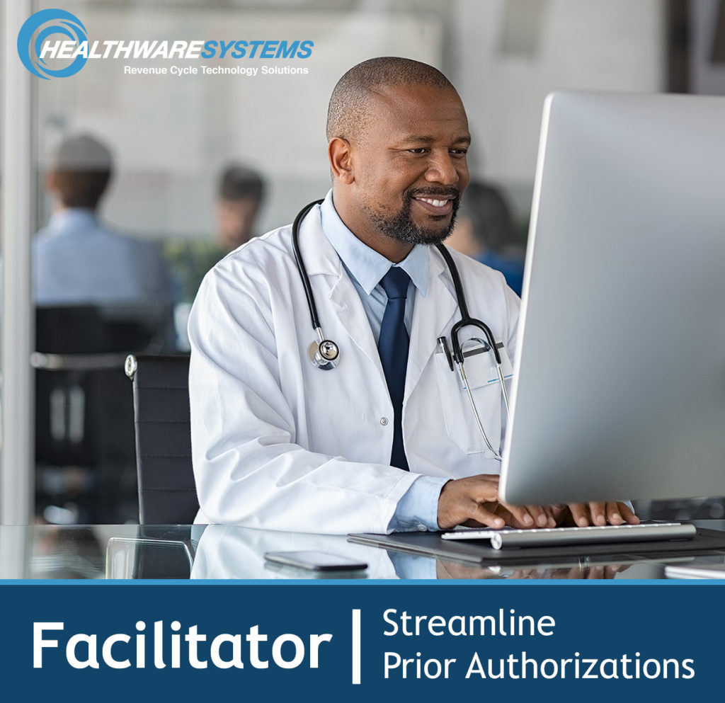 """A physician works at the computer and the words """"Facilitator 
