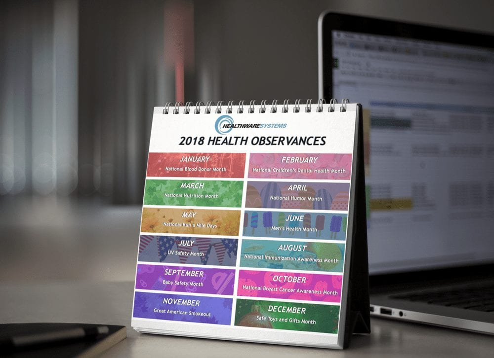 A calendar showing a month-by-month guide to health observances.