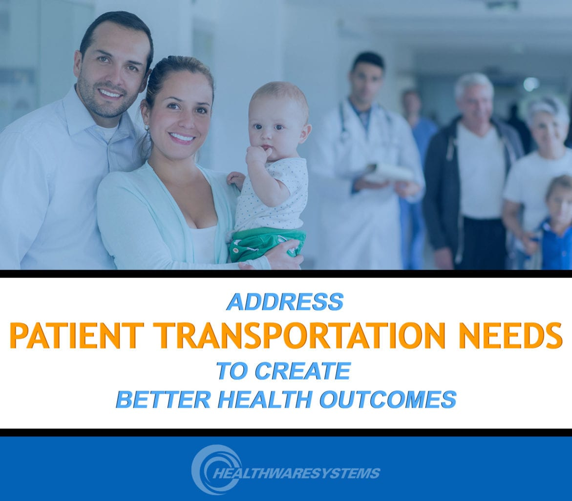 A doctor and patients smile behind the blog's title: ADDRESS PATIENT TRANSPORTATION NEEDS TO CREATE BETTER HEALTH OUTCOMES.