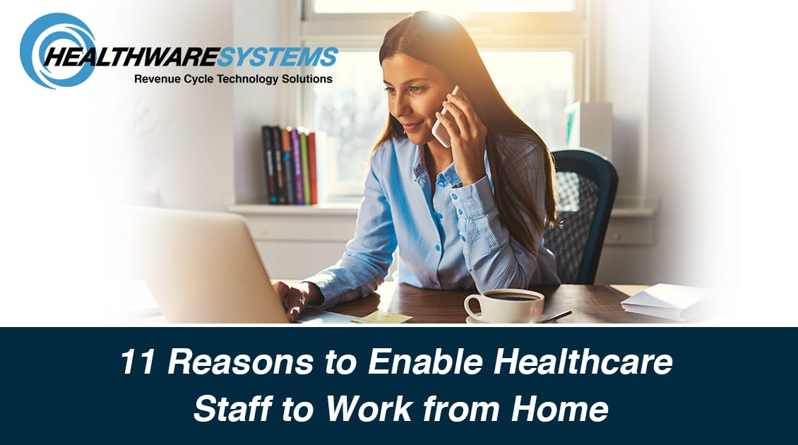 A remote worker smiles as she enjoys the benefits of remote work solutions that enable healthcare staff to work from home.