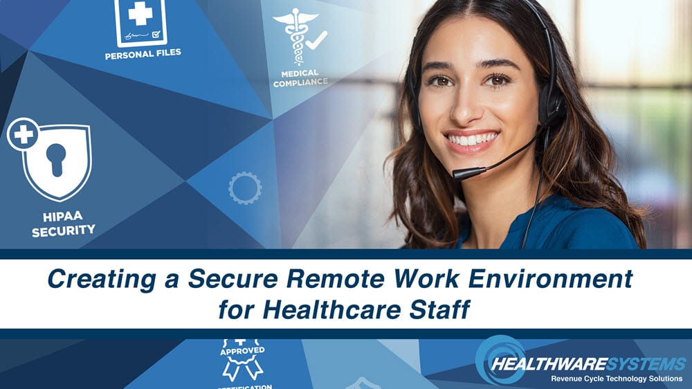 A healthcare employee working in a secure remote work environment.