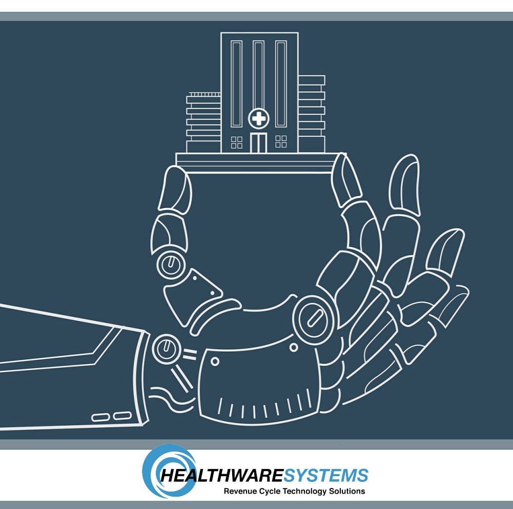 Robotic process automation in healthcare: A robot's hand holds a hospital.
