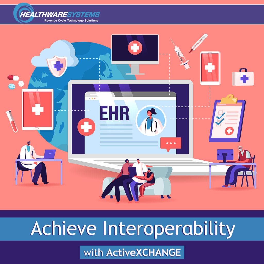 Various devices and forms of communication appear along with the words: Achieve Healthcare Interoperability with ActiveXCHANGE.