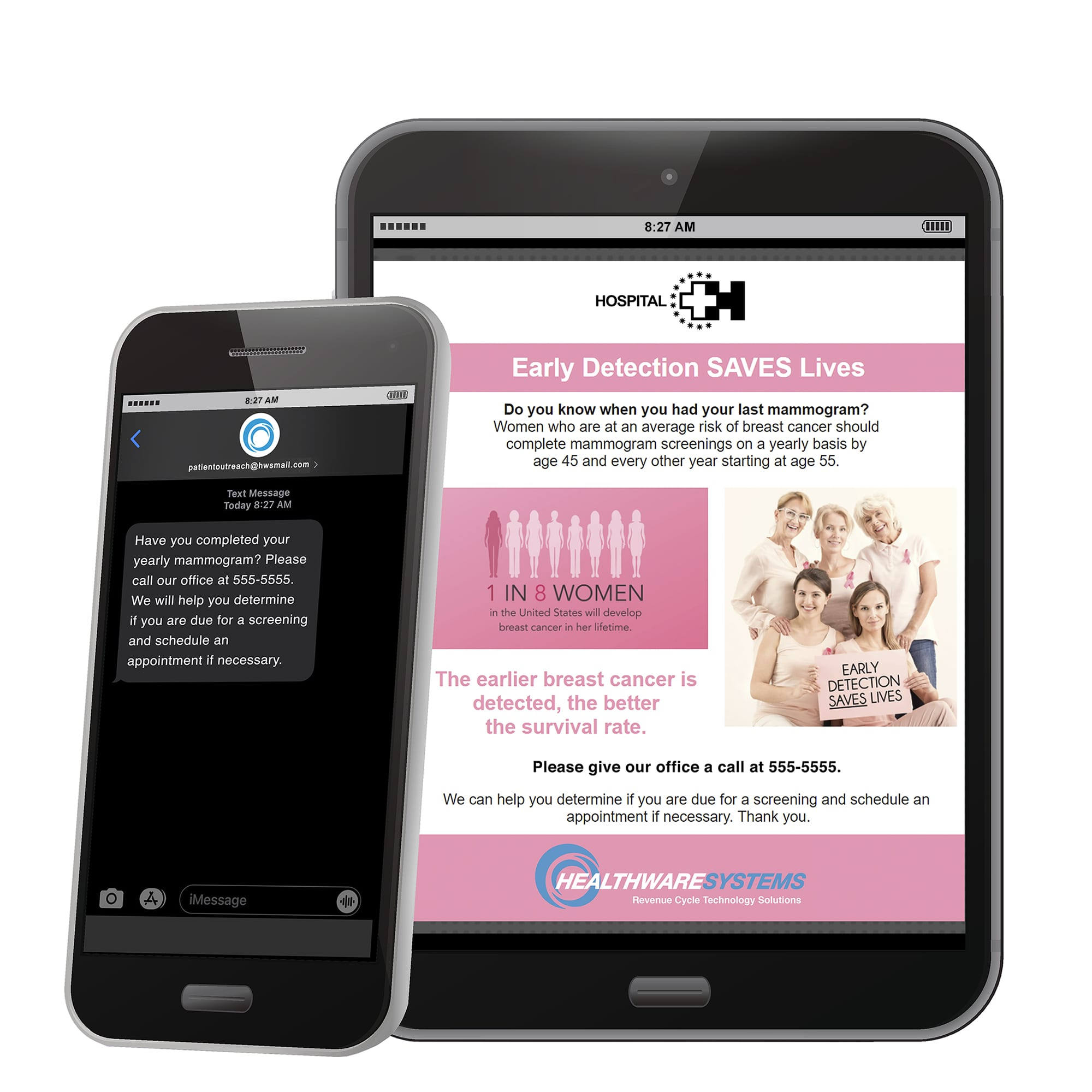Text message and email examples for a patient outreach campaign aimed at increasing mammogram appointments.