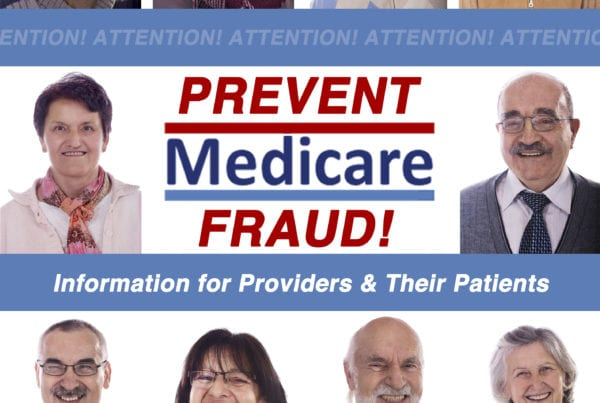 Profile pictures of Medicare patients appear along with the blog title: Prevent Medicare Fraud! Information for Providers & Their Patients
