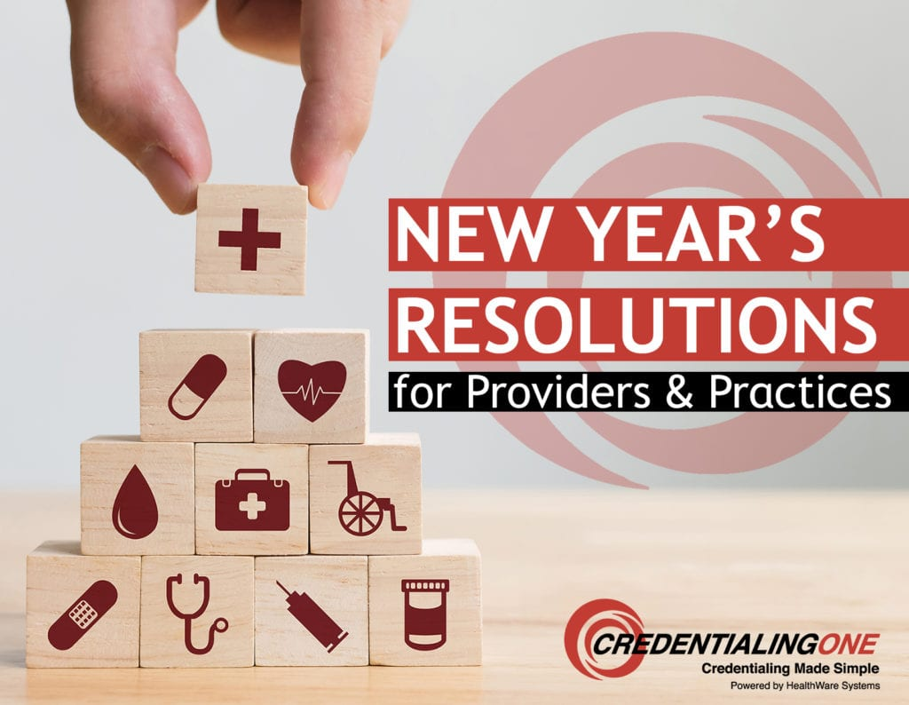 Blocks with healthcare icons are stacked in a pyramid and the blog title appears: New Year's Resolutions for Providers & Practices