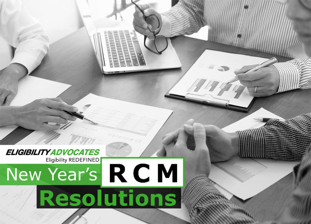 Three people look at financial reports and the blog title appears: New Year's RCM Resolutions